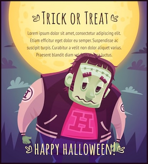 Funny cartoon mutant zombie on full moon sky background happy halloween poster trick or treat greeting card  illustration