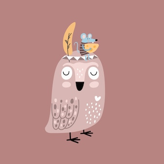 Funny cartoon owl and mouse