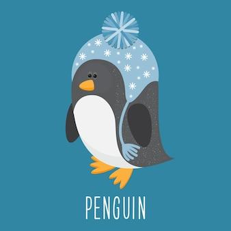 Funny cartoon penguin.