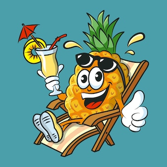 Funny cartoon pineapple character drinking pina colada cocktail having fun and relaxing on sunbed.