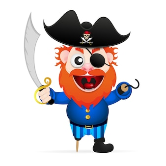 Funny cartoon pirate character