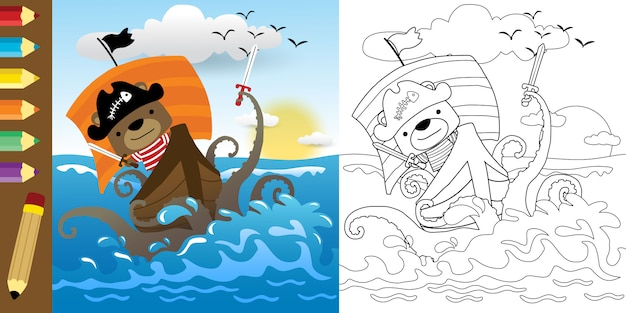 Funny cartoon of pirate fighting with monster of sea