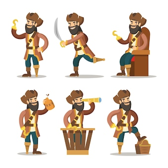 Funny cartoon pirate with sword and treasure