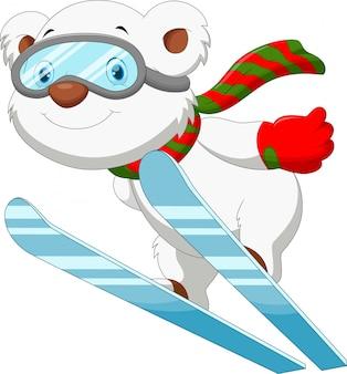 Забавный мультяшный белый медведь на лыжах