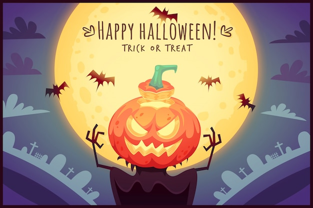 Funny cartoon pumpkin scarecrow on full moon sky background happy halloween poster trick or treat greeting card  illustration