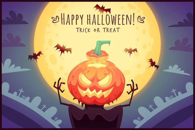 보름달 하늘 배경에 재미있는 만화 호박 허수아비 해피 할로윈 포스터 간계 또는 치료 인사말 카드 그림