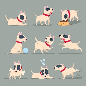 Funny cartoon puppy daily routine set