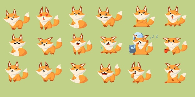 Funny cartoon red fox with set of various emotions. cute baby animal smiling, crying, laughing, sleeping, feeling happy, angry, sad.