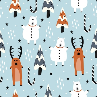 Funny cartoon of reindeer and snowman for winter christmas