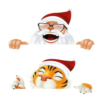 재미있는 만화 산타클로스와 호랑이 - 중국 달력으로 올해의 상징. 웃고 웃고 있는 크리스마스 캐릭터는 수평 모서리 뒤에서 엿보기 또는 흰색 배경에 격리된 기호