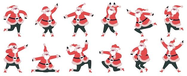 재미 있는 만화 산타 클로스 춤과 점프 문자 벡터 일러스트 레이 션 세트