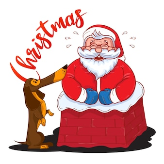 굴뚝과 갈색 닥스훈트에 갇힌 재미있는 만화 산타클로스는 올해의 상징입니다. 컬러 산타 클로스 흰색 배경에 고립입니다. 벡터 일러스트 레이 션. 인사말 카드 디자인에 적합