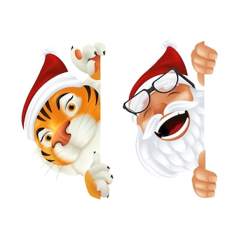Funny cartoon santa claus and tiger - symbol of the year by chinese calendar. laughing and smiling christmas characters peeking from behind the vertical corner or a sign isolated on white background