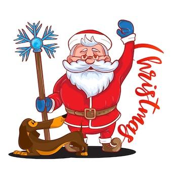Забавный мультяшный санта-клаус с волшебной палкой в руке и коричневая такса - символ нового года. цветной санта-клаус на белом фоне. векторная иллюстрация. идеально подходит для поздравительных открыток