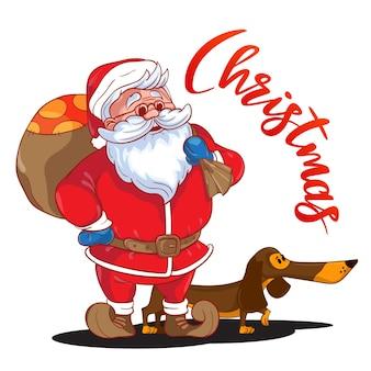 Забавный мультяшный дед мороз с мешком подарков на спине и коричневой таксой - символом года. цветной санта-клаус на белом фоне. векторная иллюстрация. идеально подходит для поздравительных открыток