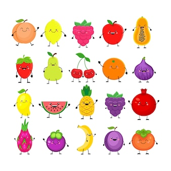 Funny cartoon set of different fruits. smiling peach, lemon, mango, watermelon, cherry, apple, pineapple, raspberry, strawberry, orange, dragon fruit  banana plum,  persimmon, papaya, figs.