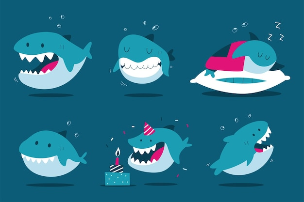 Funny cartoon shark characters set isolated on background.