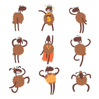 Funny cartoon sheep character set, brown sheep in different situations colorful  illustrations on a white background
