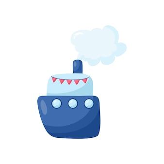 Забавный мультяшный корабль, изолированные на белом фоне. персонаж, используемый для журнала, книги, плаката, открытки, приглашения детей, веб-страниц.
