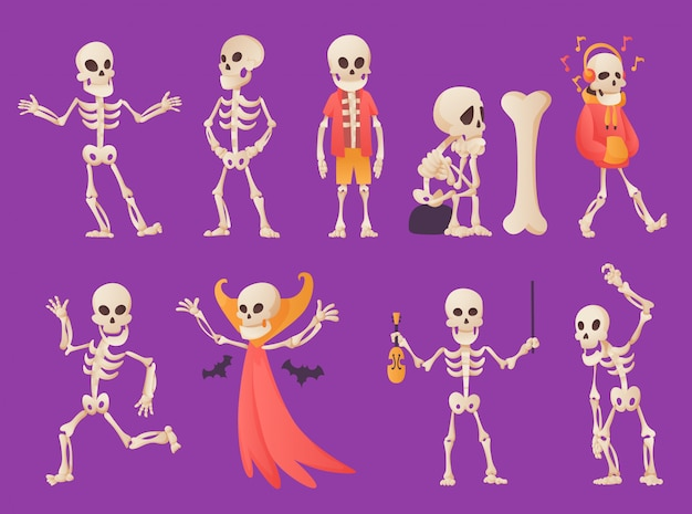 Funny cartoon skeleton. vector bony character.