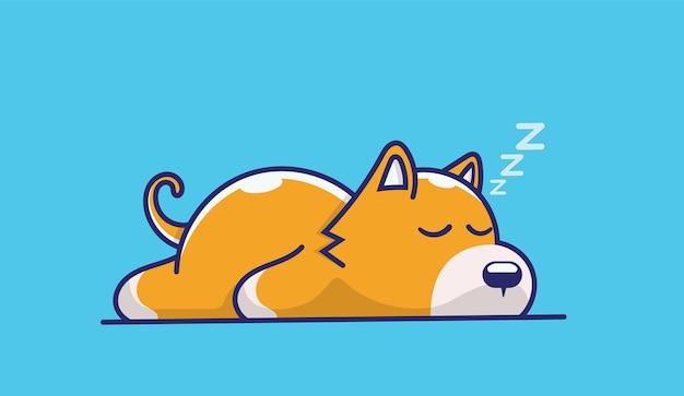 Funny cartoon sleeping dog portrait.
