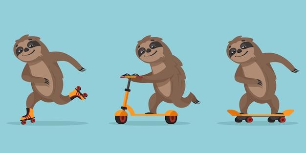 Funny cartoon sloth isolated on blue