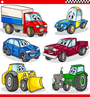面白い漫画の車と車のセット