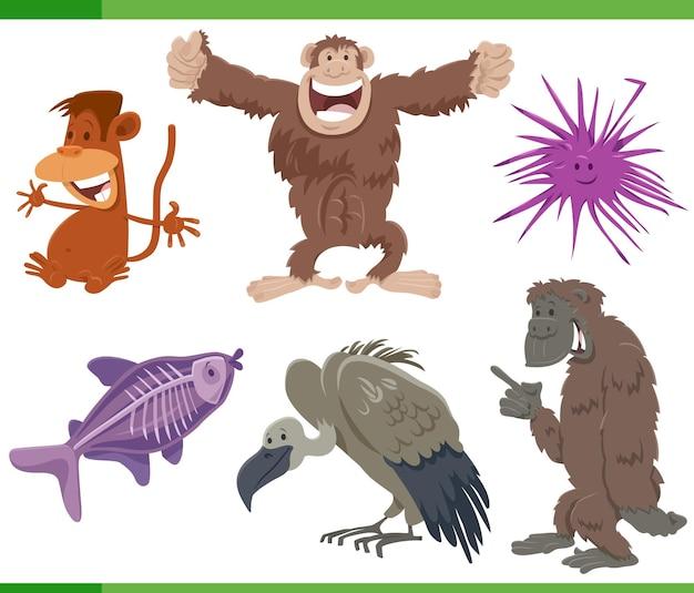 面白い漫画の野生動物種の文字セット