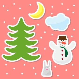 雪だるまの月の雲を笑顔で雪片を描く面白い漫画の冬の休日の背景