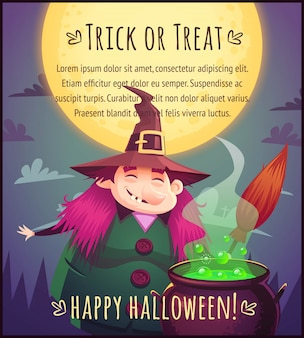 Funny cartoon witch with broom and boiling cauldron on full moon sky background happy halloween poster trick or treat greeting card  illustration