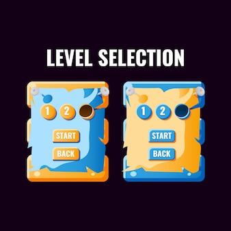 Интерфейс выбора уровня пользовательского интерфейса забавной казуальной игры для 2d игр