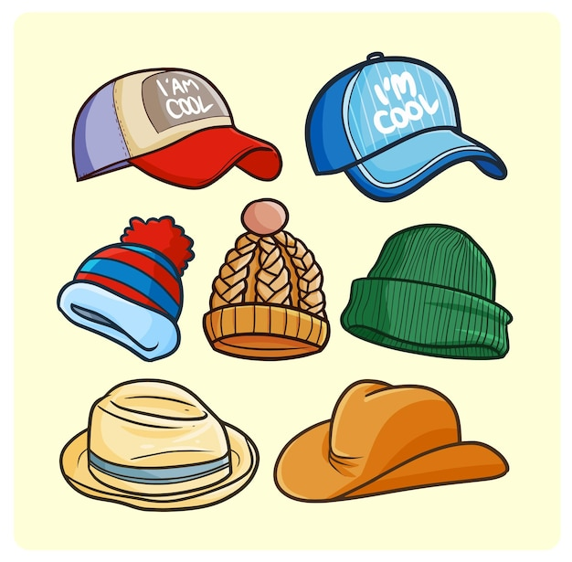 Funny casual hats collection in simple doodle style