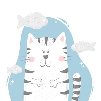 보육 포스터에 대한 재미있는 고양이와 물고기 구름