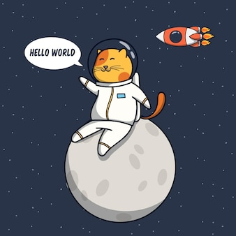 Funny cat astronaut illustration sit on the moon