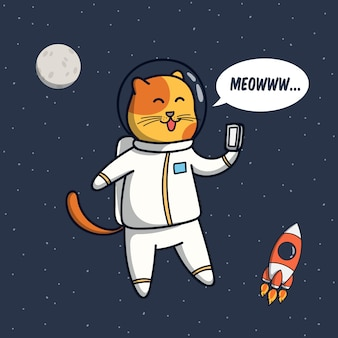 Funny cat astronaut illustration with selfie pose