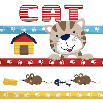 小さなラットのおかしい猫の漫画