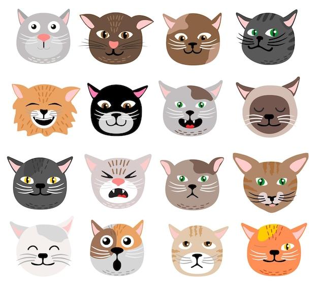 Смешное лицо кошки задает эмоции. симпатичные животные лицо кошачьи головы коллекции.
