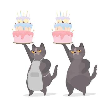 Забавный кот держит праздничный кекс. сладости со сливками, кексами, праздничным десертом, кондитерскими изделиями. подходит для открыток, футболок и наклеек. плоский стиль. вектор.