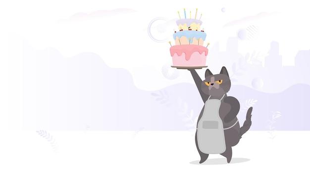 재미있는 고양이는 축제용 컵케이크를 들고 있습니다. 크림, 머핀, 축제 디저트, 제과가 있는 과자. 생일 축하 카드에 좋습니다. 벡터 평면 스타일입니다.