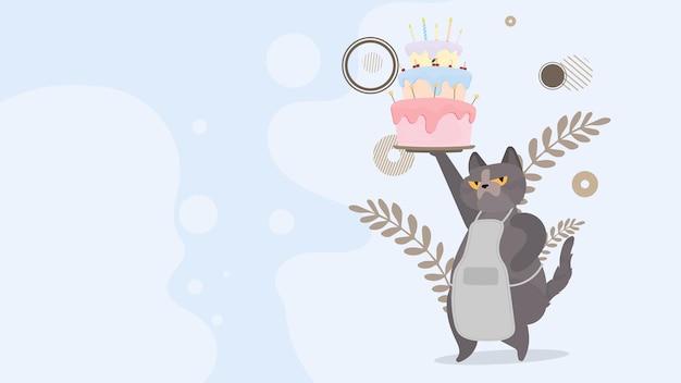 Забавный кот держит праздничный кекс. сладости со сливками, кексами, праздничным десертом, кондитерскими изделиями.
