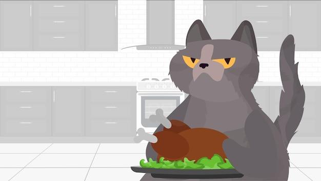 Забавный кот держит жареную индейку. кот с забавным взглядом держит жареного цыпленка. кулинарный блог или концепция видеоблога. вектор.