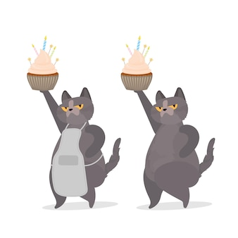 Funny cat holds a festive cupcake. sweets with cream, muffin, festive dessert, confectionery. good for cards, t-shirts and stickers. flat style. vector.