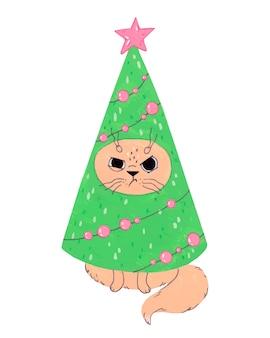 クリスマスツリーの衣装で面白い猫。正月イラスト