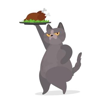 面白い猫が七面鳥の丸焼きを持っています。変な顔の猫がフライドチキンを持っています。ステッカー、カード、tシャツに最適です。孤立。ベクター。
