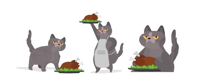 Забавный кот держит жареную индейку. кот с забавным взглядом держит жареного цыпленка. подходит для наклеек, открыток и футболок. изолированный. вектор.