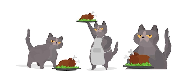 Funny cat is holding a roast turkey. a cat with a funny look holds a fried chicken. good for stickers, cards and t-shirts. isolated. vector.