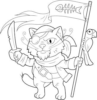Funny cat pirate