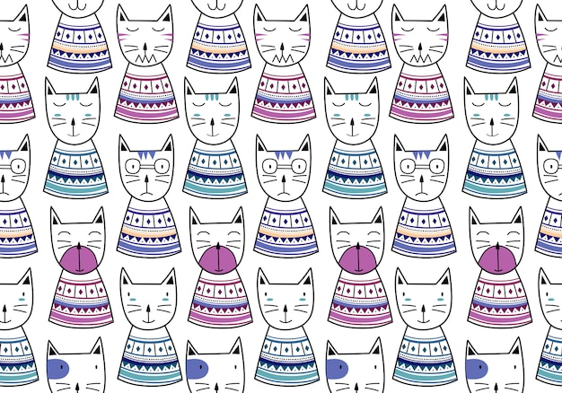 Funny cat seamless pattern with hand drawn childish style
