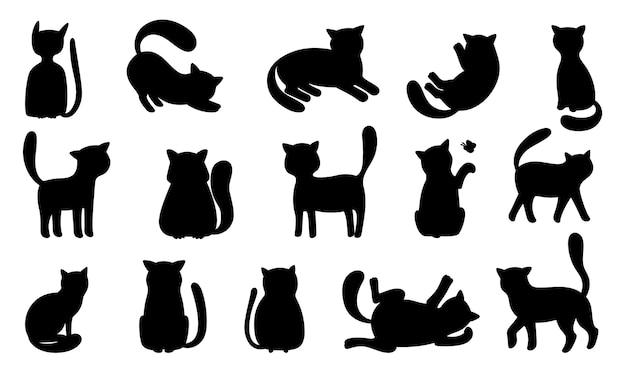 재미 있은 고양이 실루엣. 검은 고양이는 놀고 사냥하고 거짓말하고 점프합니다.