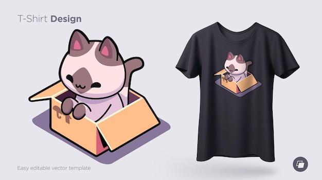 Забавный кот сидит в картонной коробке печать на футболках кофты чехлы для мобильных телефонов